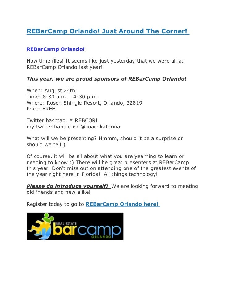 REBarCamp Orlando! Just Around The Corner!REBarCamp Orlando!How time flies! It seems like just yesterday that we were all ...