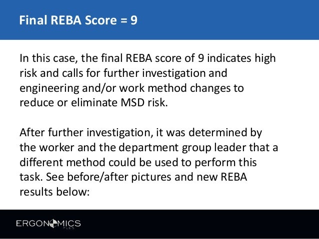 reba method Methods: this cross-sectional analysis study was carried out on dental  during  work based on the rapid entire body assessment (reba.