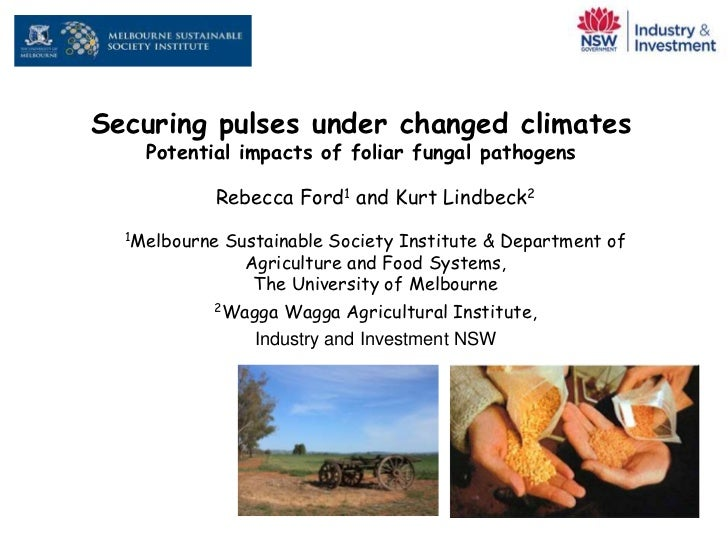 Securing pulses under changed climates    Potential impacts of foliar fungal pathogens           Rebecca Ford1 and Kurt Li...