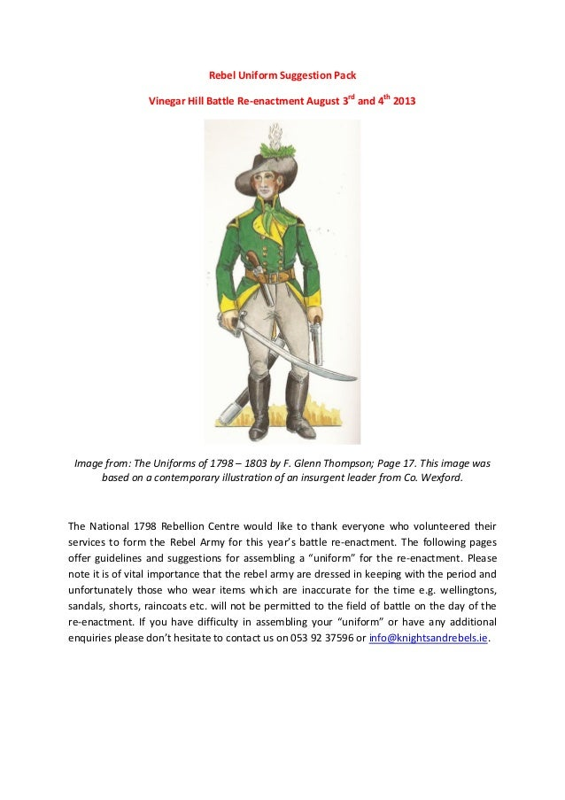Rebel Uniform Suggestion Pack Vinegar Hill Battle Re-enactment August 3rd and 4th 2013 Image from: The Uniforms of 1798 – ...