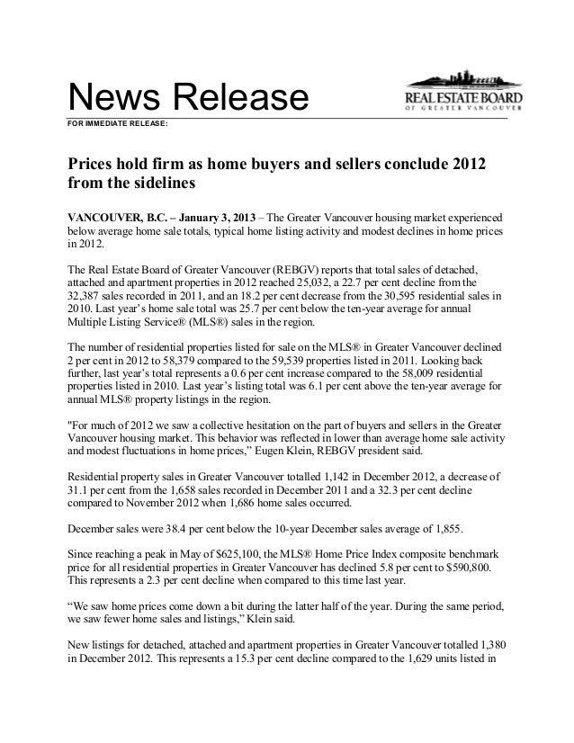 REBGV dec 2012 stats package