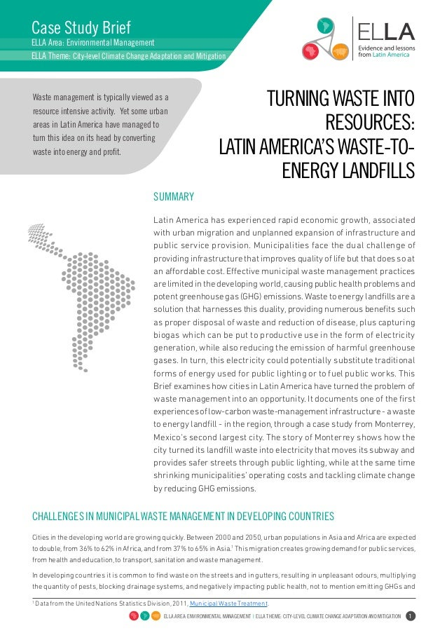 Turning waste into resources. Latin America´s waste to-energy to tackle climate change.