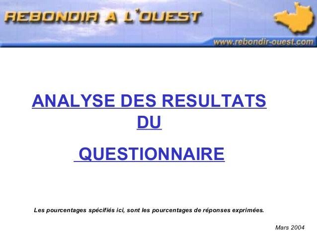 ANALYSE DES RESULTATS DU QUESTIONNAIRE Les pourcentages spécifiés ici, sont les pourcentages de réponses exprimées. Mars 2...