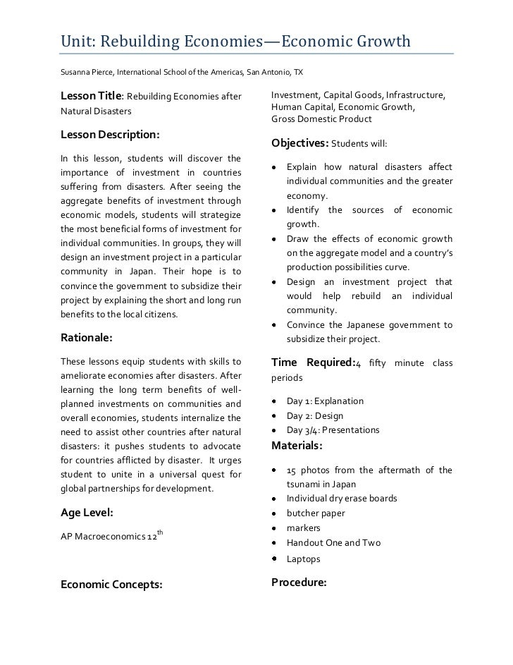 Unit: Rebuilding Economies—Economic GrowthSusanna Pierce, International School of the Americas, San Antonio, TXLesson Titl...
