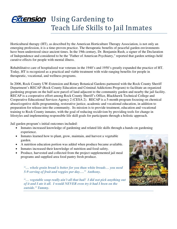 Using Gardening to                                             Teach Life Skills to Jail Inmates Horticultural therapy (HT...