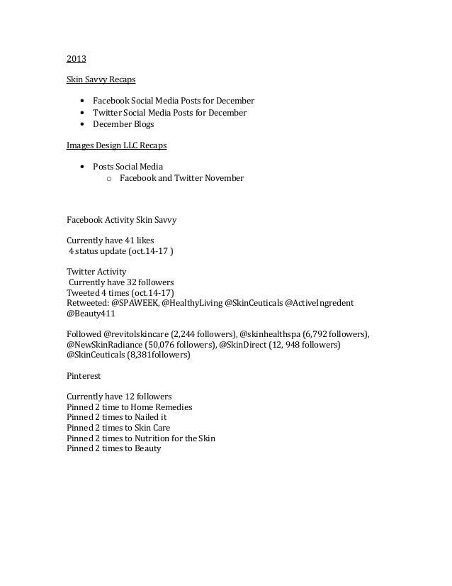 2013 Skin Savvy Recaps • • •  Facebook Social Media Posts for December Twitter Social Media Posts for December December Bl...