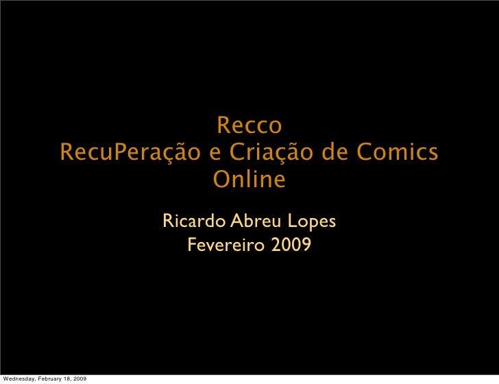 Recco                   RecuPeração e Criação de Comics                               Online                              ...
