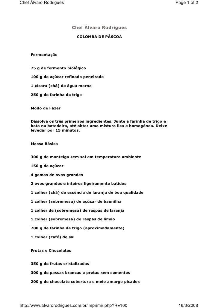 Receitas Colomba Pascoal