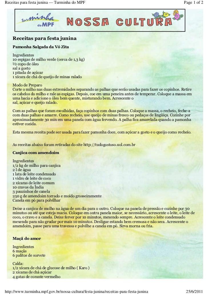 Receitas para festa junina — Turminha do MPF                                                              Page 1 of 2    R...