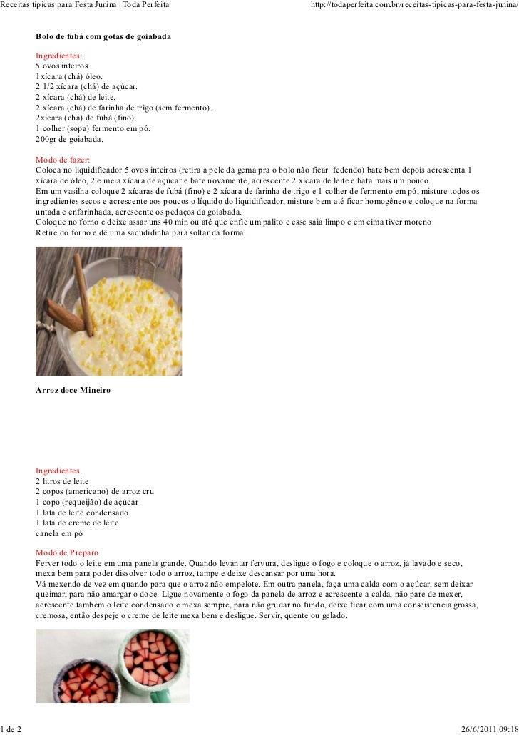Receitas típicas para Festa Junina   Toda Perfeita                                    http://todaperfeita.com.br/receitas-...