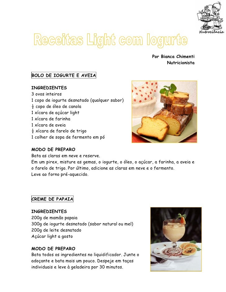 Receitas light iogurte