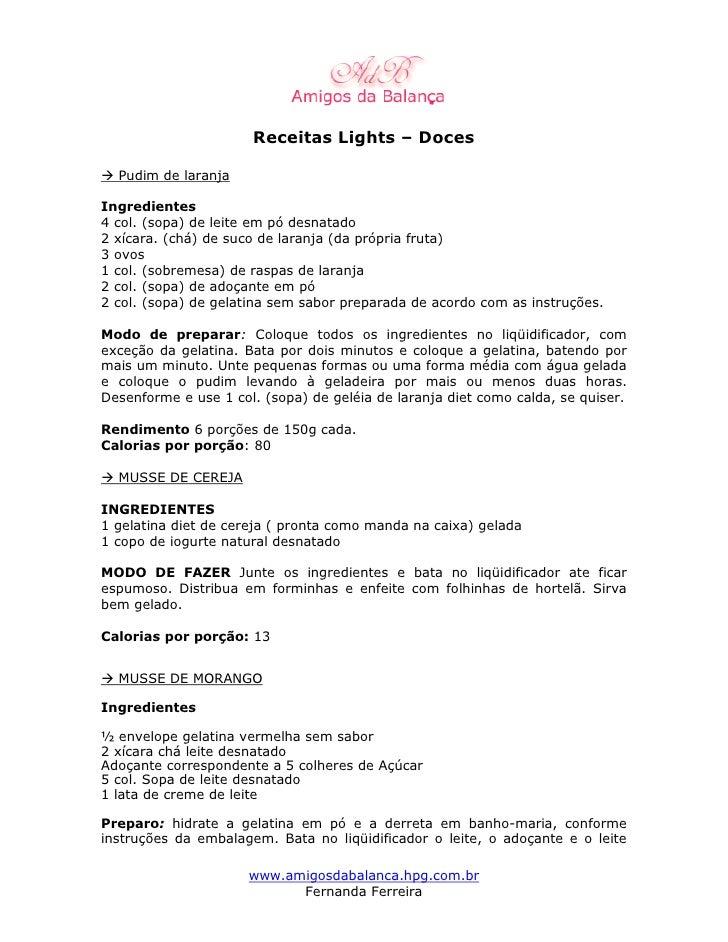 Receitas Lights Doces