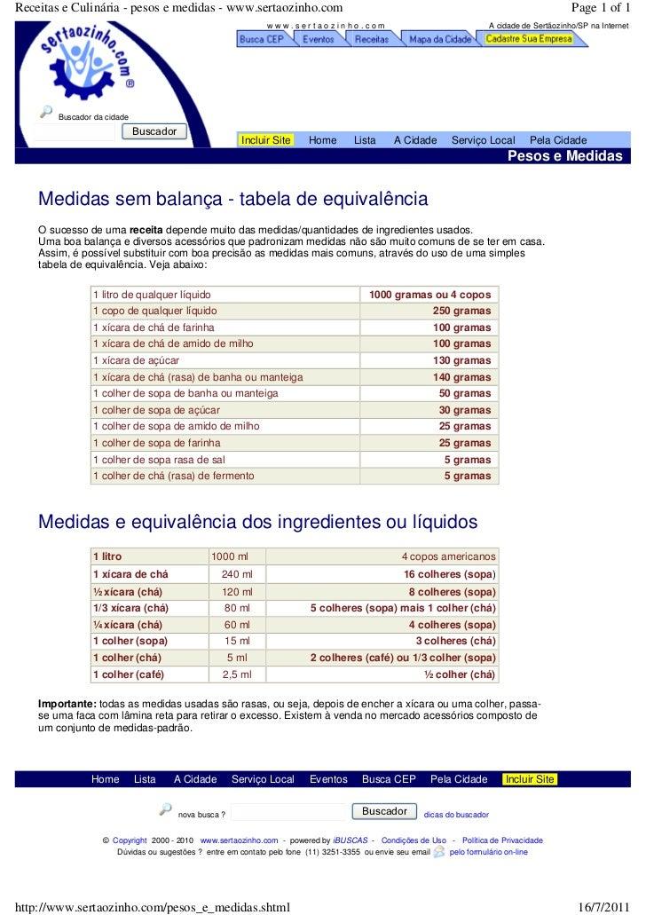 Receitas e Culinária - pesos e medidas - www.sertaozinho.com                                                              ...