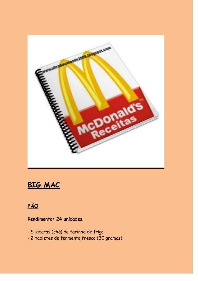 BIG MAC  PÃO  Rendimento: 24 unidades.  - 5 xícaras (chá) de farinha de trigo  - 2 tabletes de fermento fresco (30 gramas)