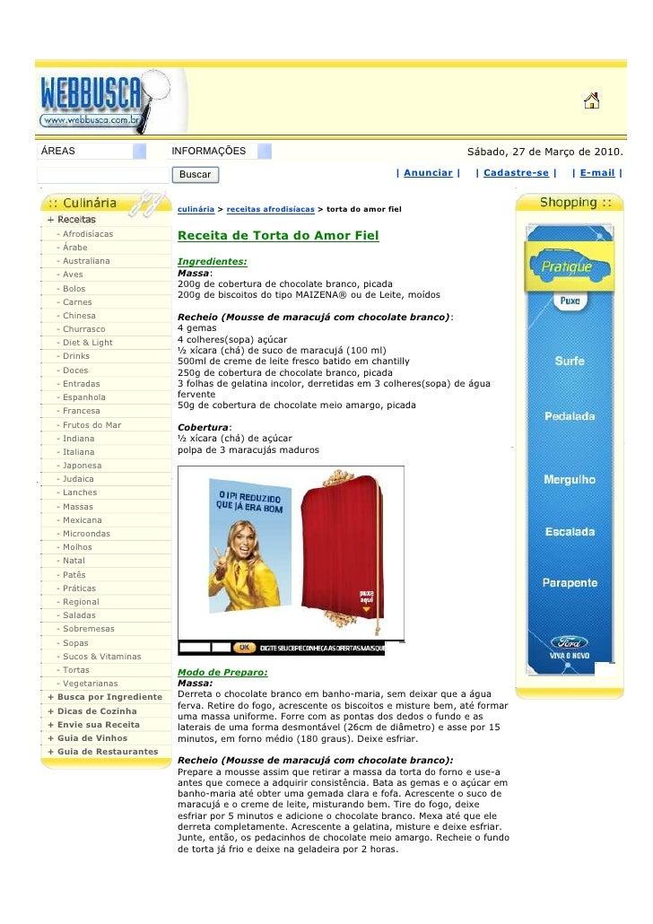 ÁREAS                     INFORMAÇÕES                                                        Sábado, 27 de Março de 2010. ...