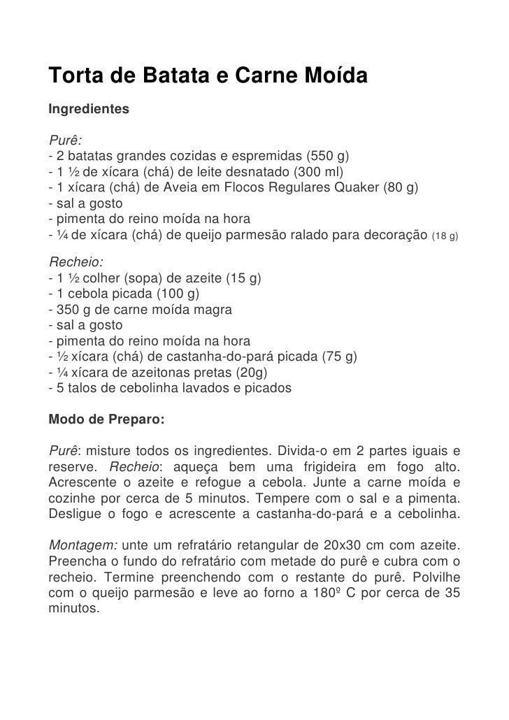 Receitas Torta De Batata E Carne MoíDa