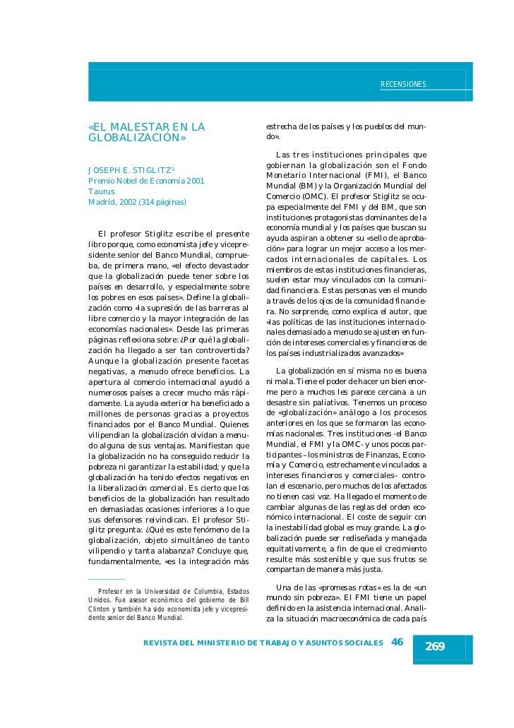 RECENSIONES«EL MALESTAR EN LA                                       estrecha de los países y los pueblos del mun-GLOBALIZA...