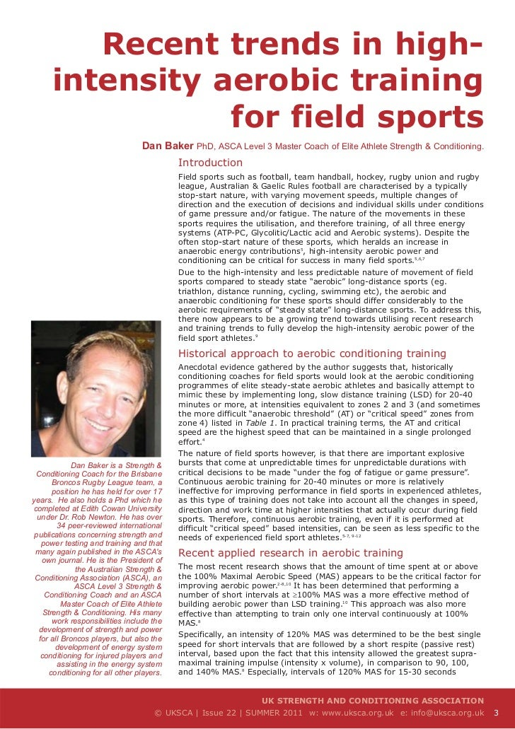 Recent trends in high-      intensity aerobic training                 for field sports                                  D...