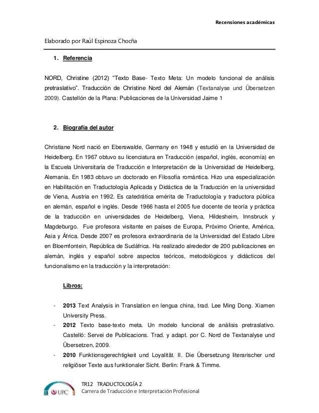 Recensiones académicas TR12 TRADUCTOLOGÍA 2 Carrera de Traducción e Interpretación Profesional Elaborado por Raúl Espinoza...