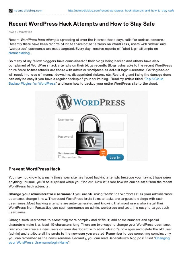 Recent word press hack attempts and how to stay safe
