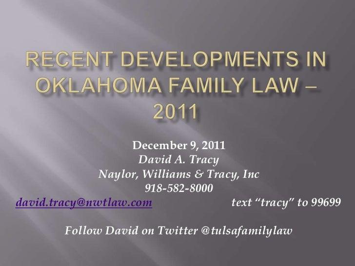 2011 Oklahoma Family Law - Recent Developments