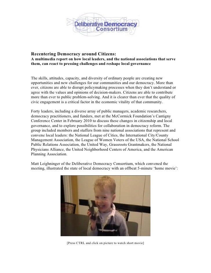 Recentering Democracy Around Citizens   Multimedia Report