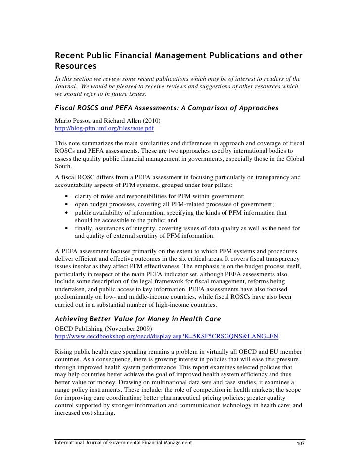 Recent Public Financial Management Publications and other Resources In this section we review some recent publications whi...