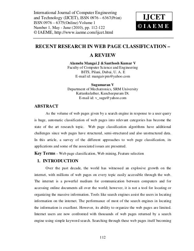 Recent research in web page classification – a review