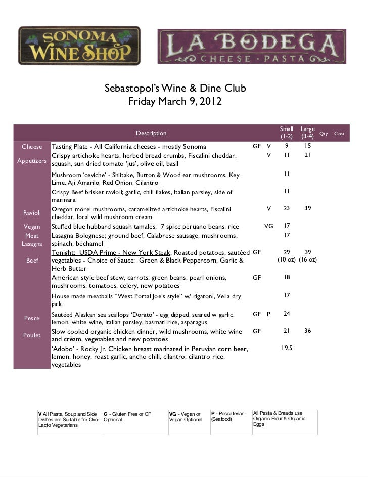 Sebastopol's Wine & Dine Club                                           Friday March 9, 2012                              ...