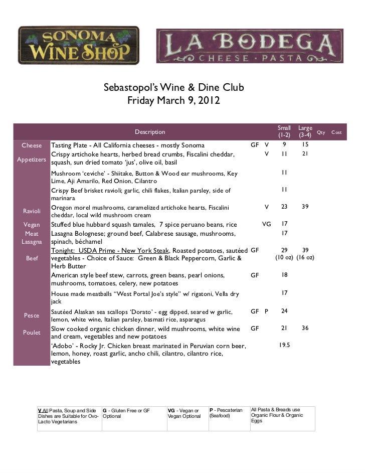 Recent sebastopol menu