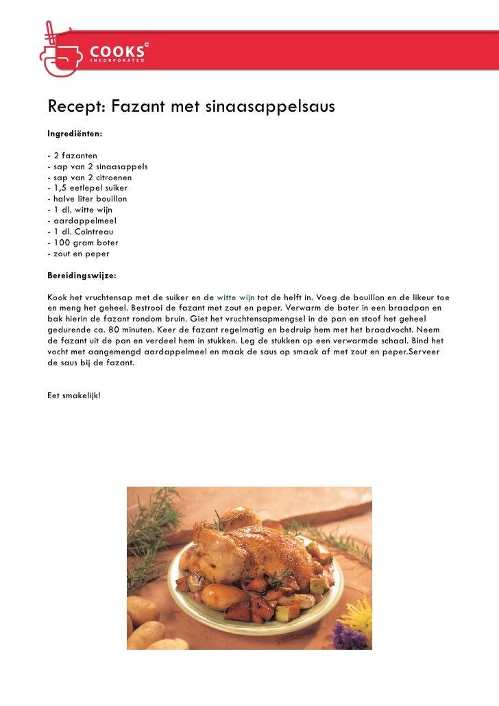 Recept  - fazant met sinaasappelsaus