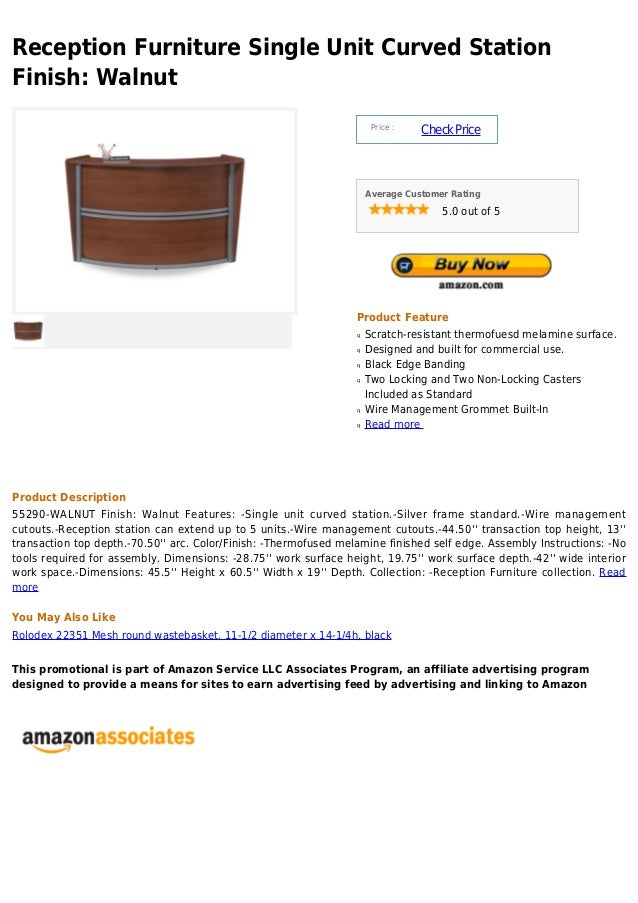 Reception Furniture Single Unit Curved StationFinish: Walnut                                                              ...