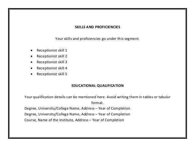 receptionist resumes skills   svixe don    t live a little  live a resumereceptionist resume template pdf