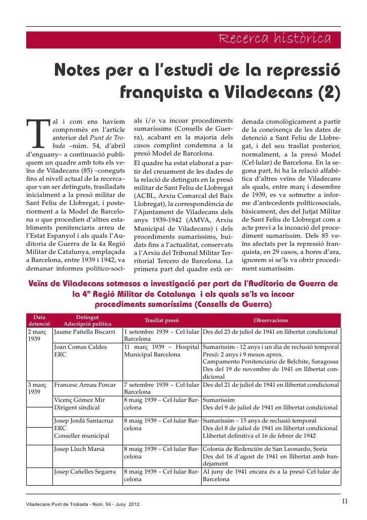 Recerca històrica           Notes per a l'estudi de la repressió                  franquista a Viladecans (2)T          al...