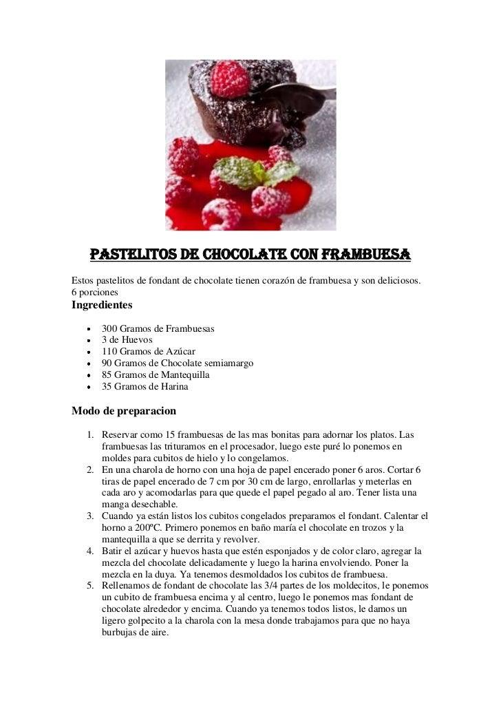 Pastelitos de Chocolate con Frambuesa<br />Estos pastelitos de fondant de chocolate tienen corazón de frambuesa y son deli...