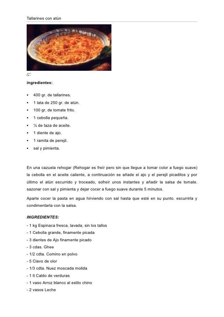 Tallarines con atúningredientes:   400 gr. de tallarines.   1 lata de 250 gr. de atún.   100 gr. de tomate frito.   1 ...