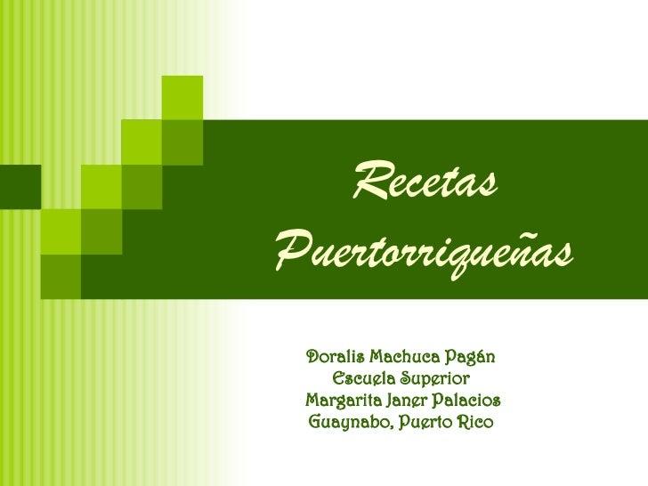Recetas  Puertorriqueñas