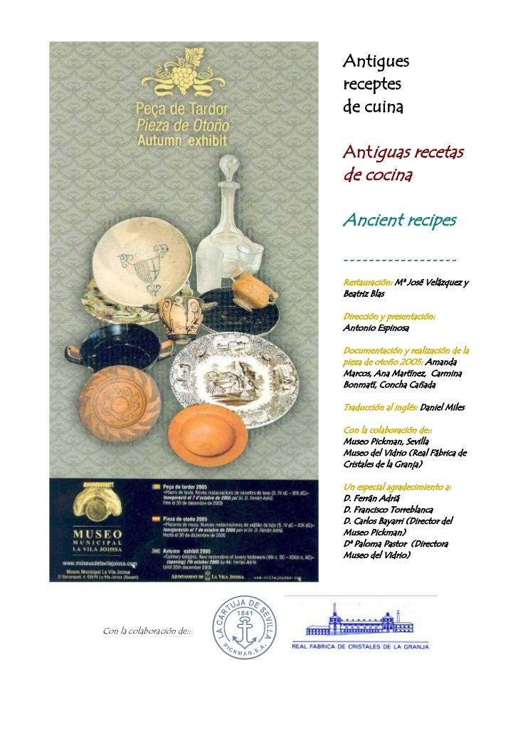 Antigues                           receptes                           de cuina                           Antiguas recetas ...