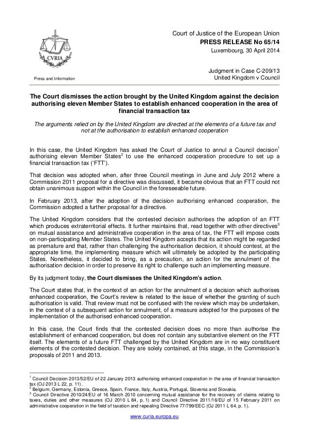 www.curia.europa.eu Press and Information Court of Justice of the European Union PRESS RELEASE No 65/14 Luxembourg, 30 Apr...