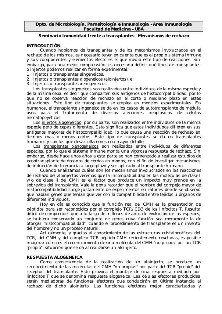 Dpto. de Microbiología, Parasitología e Inmunología - Area Inmunología                           Facultad de Medicina - UB...