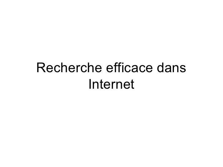 Recherche Efficace Dans Internet Formation