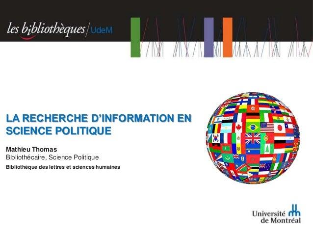 Recherche d'information en science politique