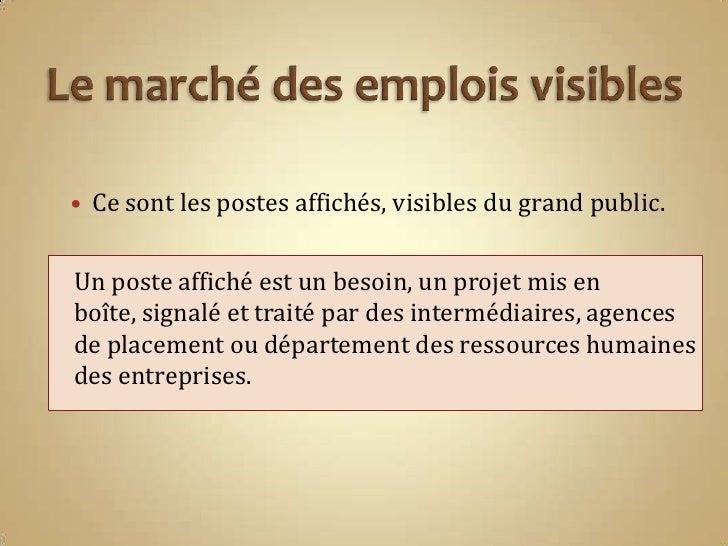 recherche d u0026 39 emploi march u00e9 visible et cach u00e9