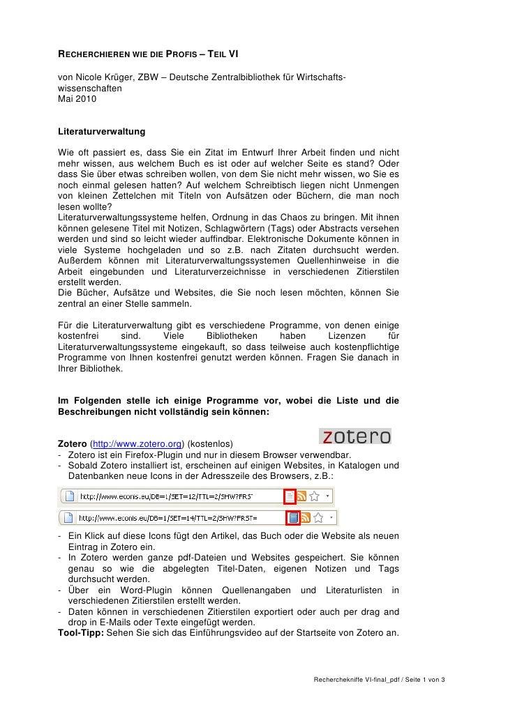 RECHERCHIEREN WIE DIE PROFIS – TEIL VIvon Nicole Krüger, ZBW – Deutsche Zentralbibliothek für Wirtschafts-wissenschaftenMa...