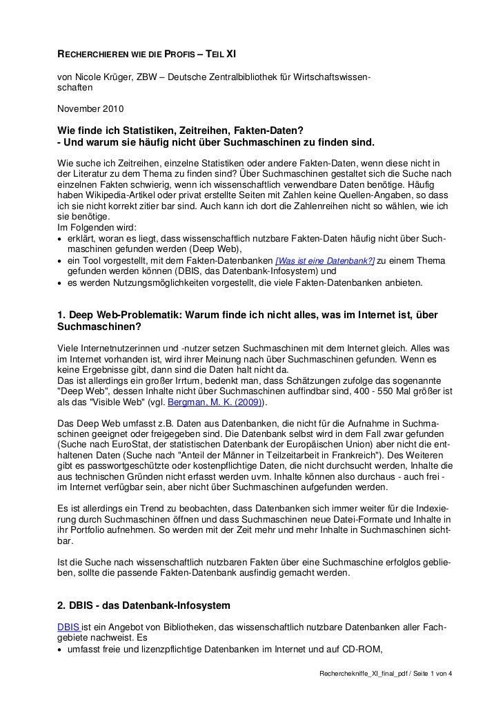 RECHERCHIEREN WIE DIE PROFIS – TEIL XIvon Nicole Krüger, ZBW – Deutsche Zentralbibliothek für Wirtschaftswissen-schaftenNo...