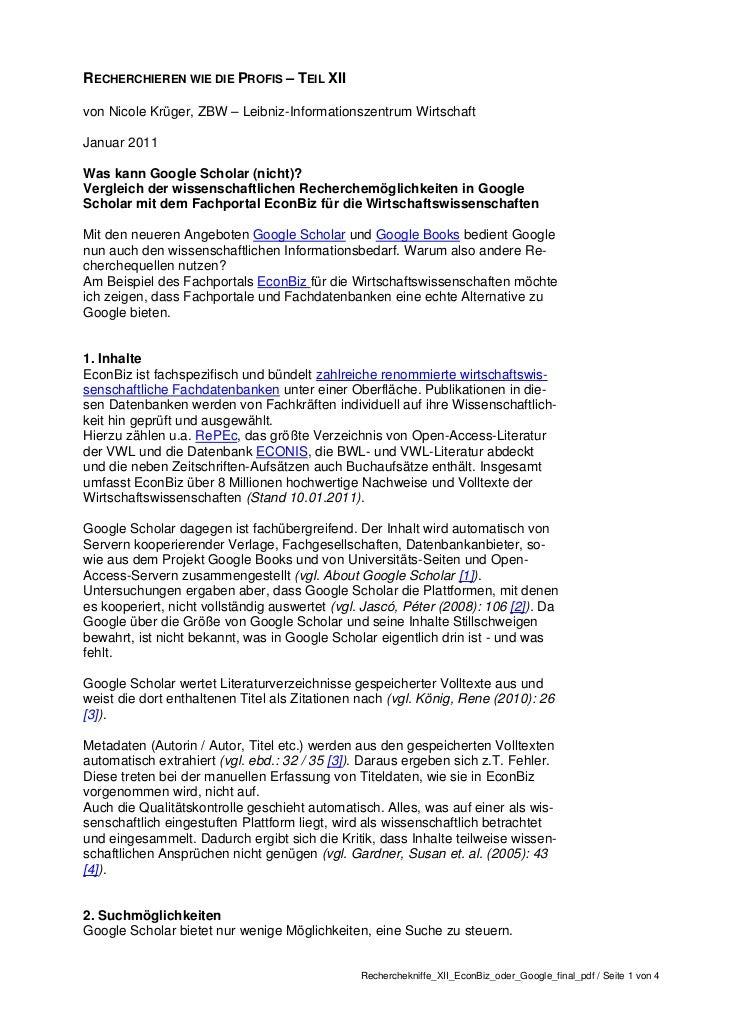 RECHERCHIEREN WIE DIE PROFIS – TEIL XIIvon Nicole Krüger, ZBW – Leibniz-Informationszentrum WirtschaftJanuar 2011Was kann ...
