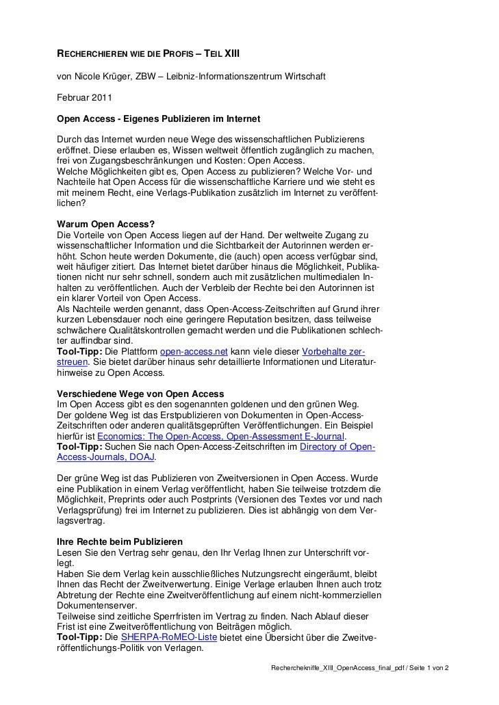 Recherchieren wie die Profis - Tipps von der ZBW - Teil 13: Open Access - Eigenes Publizieren im Internet