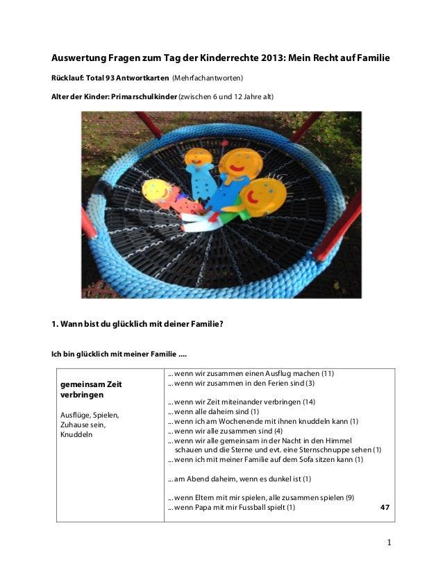 Auswertung Fragen zum Tag der Kinderrechte 2013: Mein Recht auf Familie Rücklauf: Total 93 Antwortkarten (Mehrfachantworte...