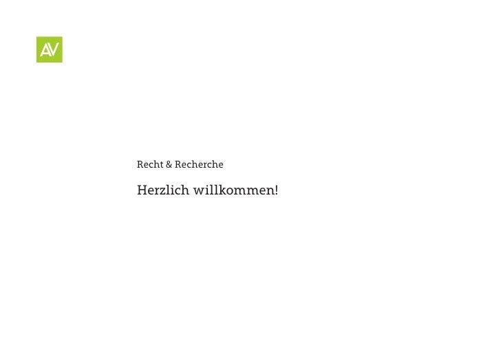 Recht & Recherche  Herzlich willkommen!