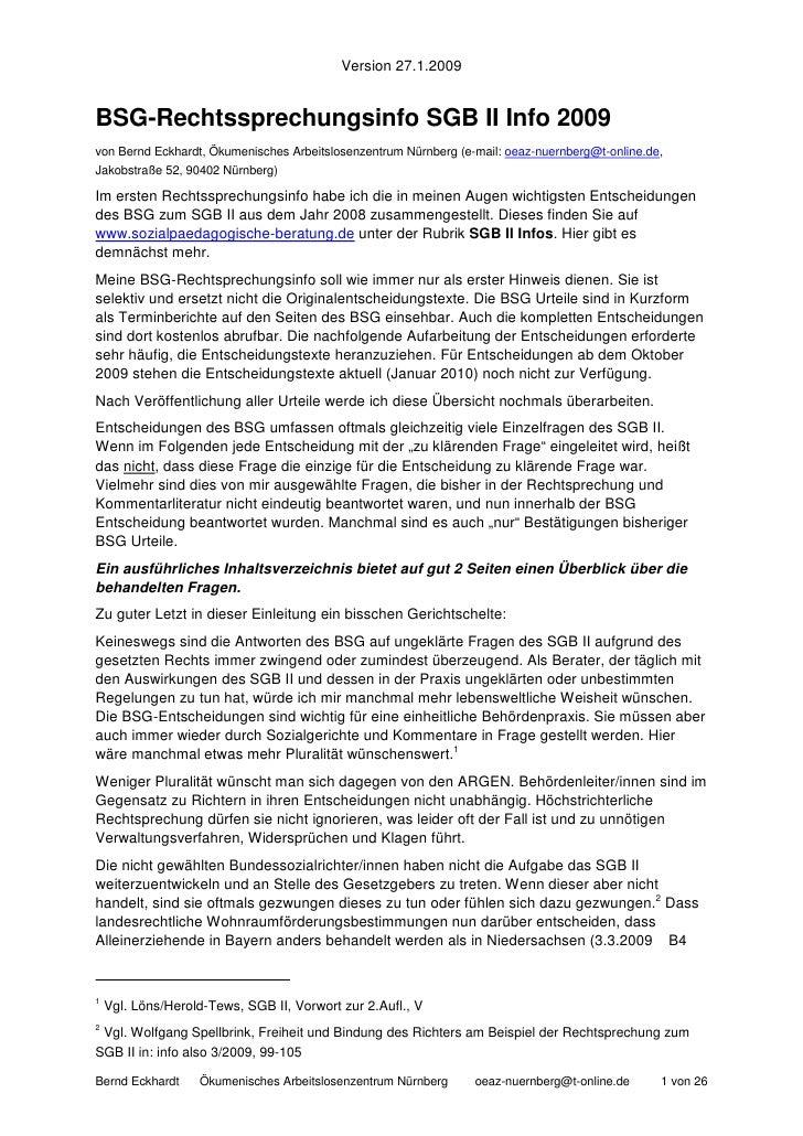 Version 27.1.2009   BSG-Rechtssprechungsinfo SGB II Info 2009 von Bernd Eckhardt, Ökumenisches Arbeitslosenzentrum Nürnber...